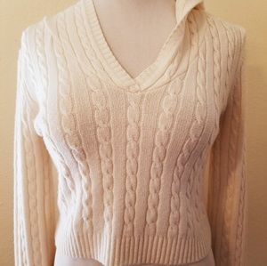 20e5958f0392 Arden B Tops - Ivory Cream Cable Knit Hoodie Sweater Crop